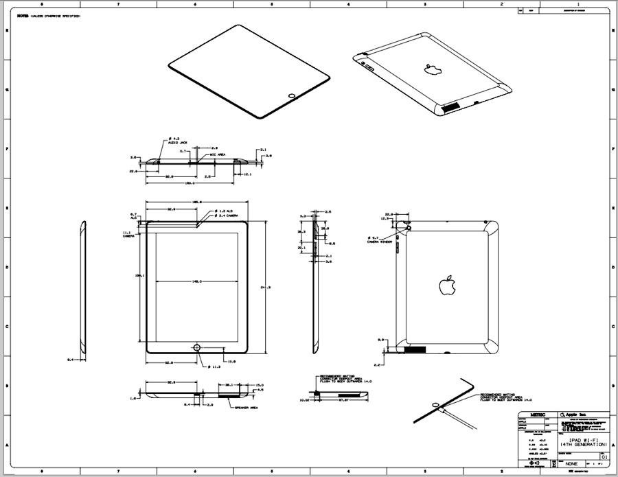 ipad mini und ipad 4 im detail technische zeichnungen stehen zum download bereit mac life. Black Bedroom Furniture Sets. Home Design Ideas