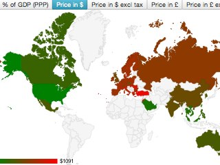 Bild zu «Teuer, teurer, am teuersten: Weltkarte visualisiert Preisunterschiede beim iPhone 5s»
