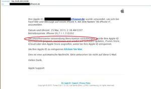 Phishing-Attacke: Gefälschte E-Mail versucht derzeit vertrauliche Apple-ID-Daten abzufangen