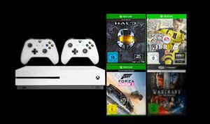 Sparpaket: Microsoft Xbox One S mit 3 Spielen, Kinofilm + 2tem Controller