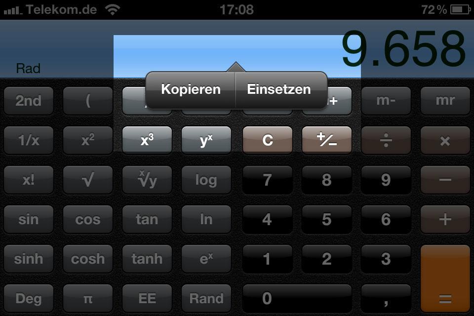 Meine Taschenrechner-App für iPhone versteckt Texte