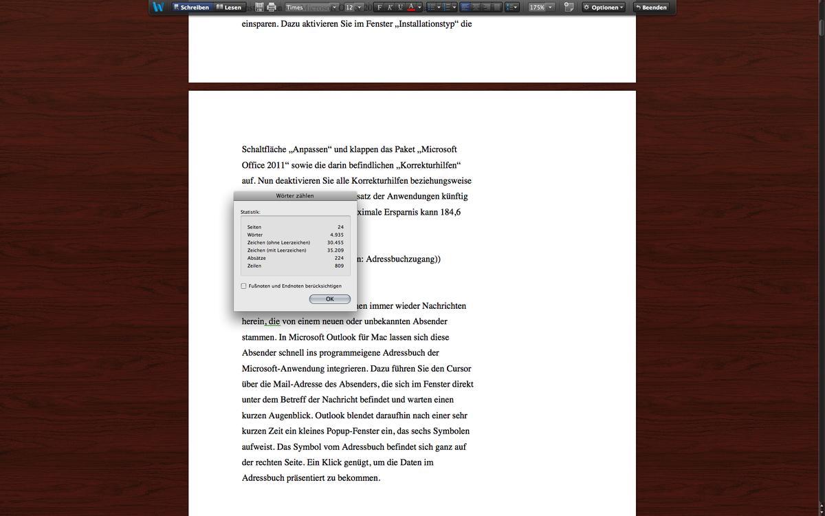 Word Fur Mac 2011 Zwischen Positionen Wechseln Zeichenzahlen