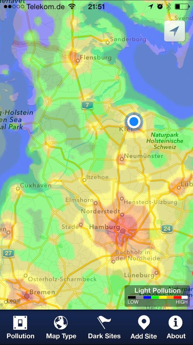 Lichtverschmutzung Karte 2019.App Tipp Dark Sky Finder Bewusst Im Dunkeln Tappen Und