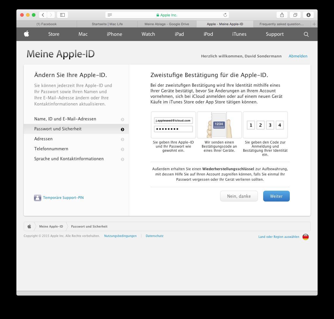 apple id bestätigungscode wo eingeben