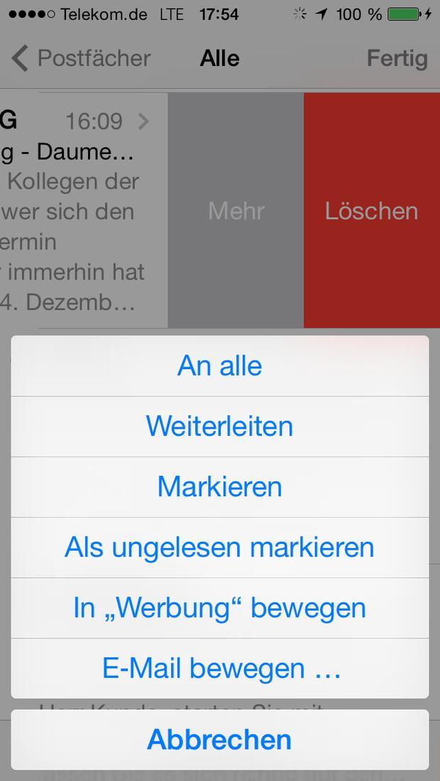 iphone mail ordner werbung löschen