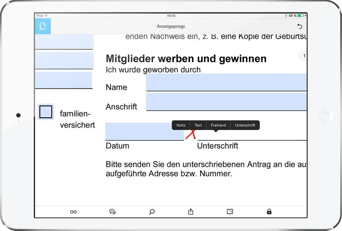 Auch am iPad lassen sich Dokumente digital unterschreiben. Dazu schreiben  Sie einfach auf dem Touchscreen.