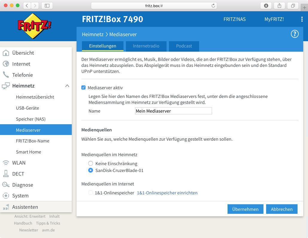 Fritzbox 7490 Mediaserver Aktualisieren