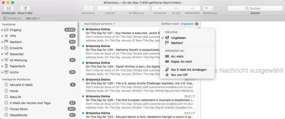 apple mail nur kopfzeilen