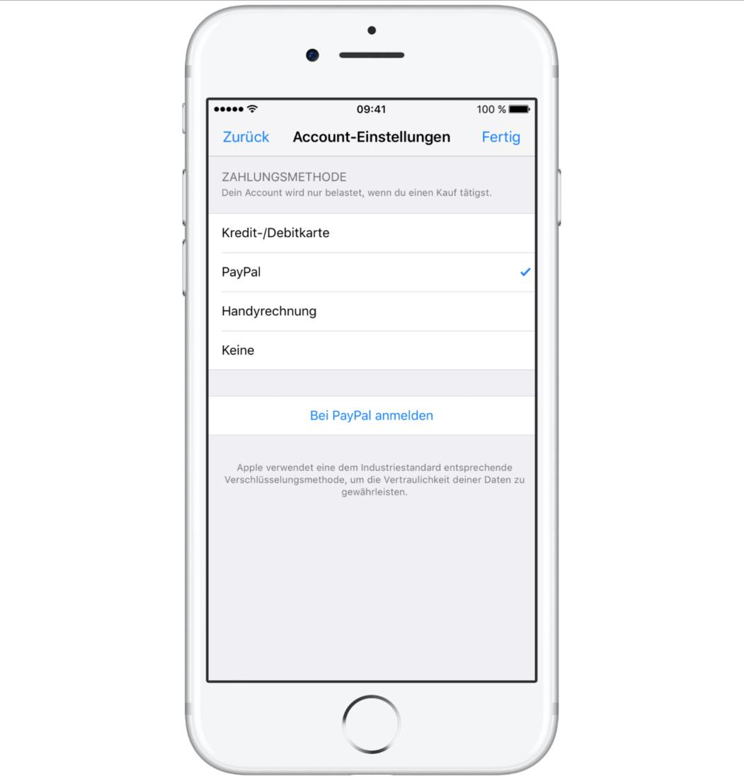 apple zahlungsmethode paypal