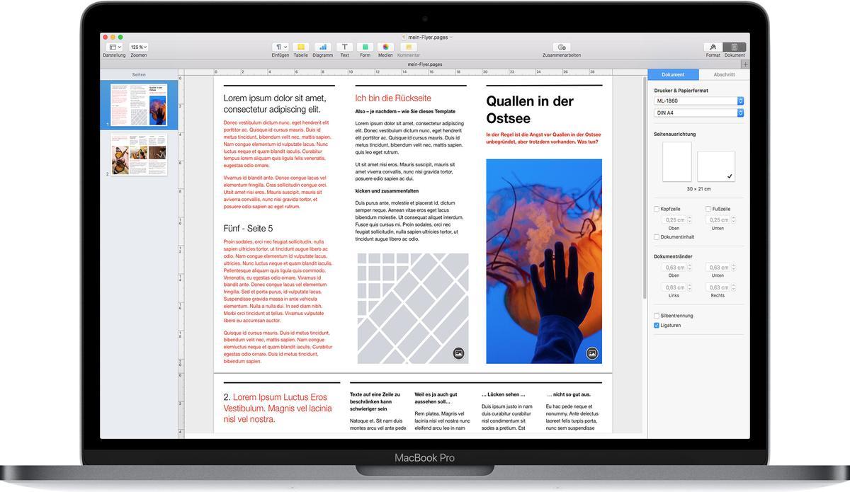 Pages am Mac (Bild: Apple)