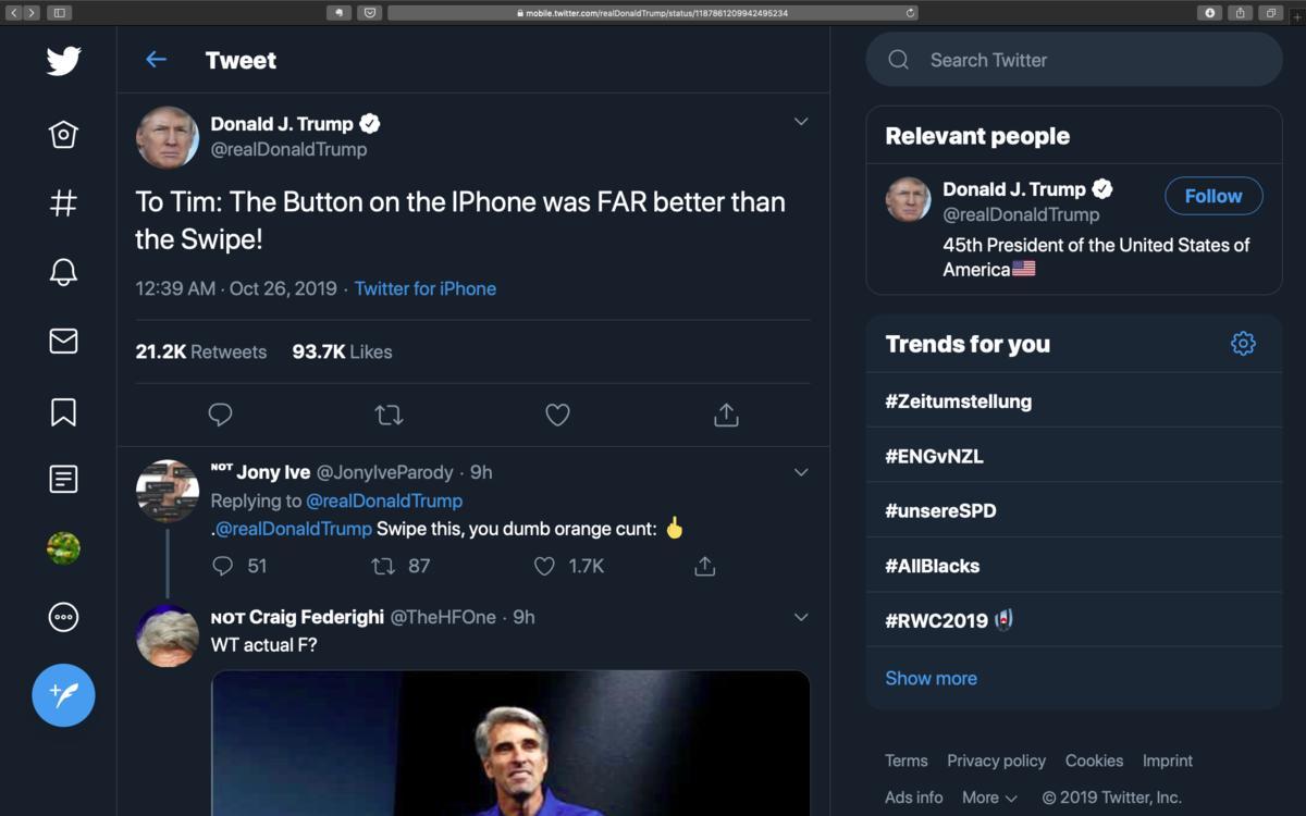 Donald Trump empört sich bei Tim Cook über das iPhone-Design