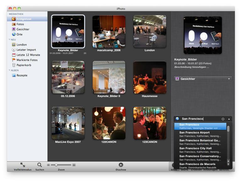 Fotos in iPhoto Ortsinformationen hinzufügen