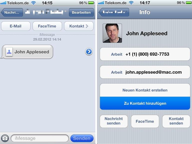 Ios Kontakte Senden Und Zwischen Mehreren Iphones