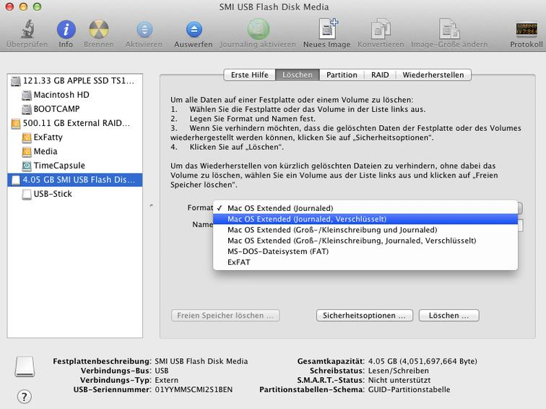 Mac OS X: Externes Speichermedium verschlüsseln