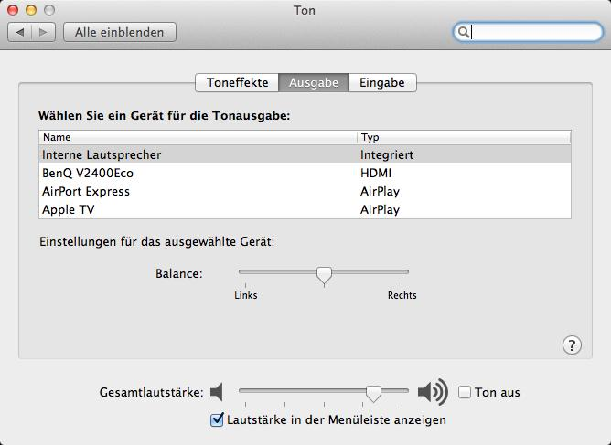 OS X Mountain Lion: Systemweite Tonausgabe über AirPlay