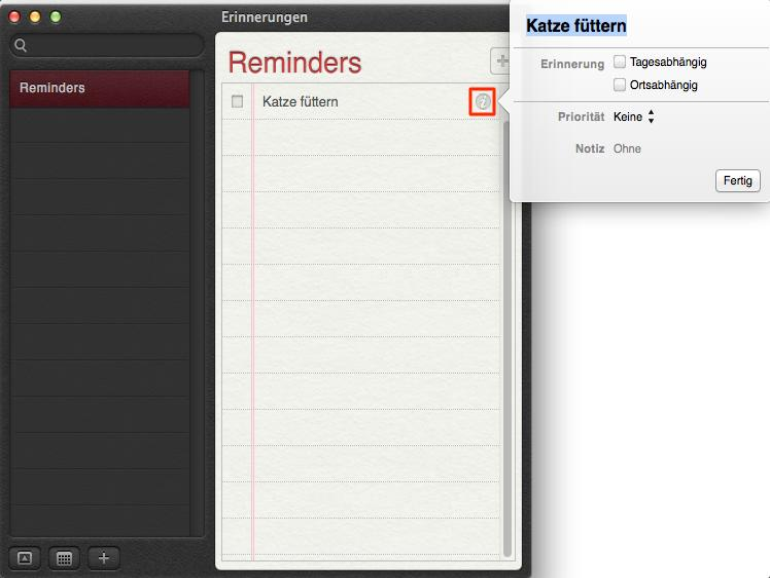 OS X Mountain Lion: Erinnerungen.app, so erstellen Sie ortsbasierte Erinnerungen