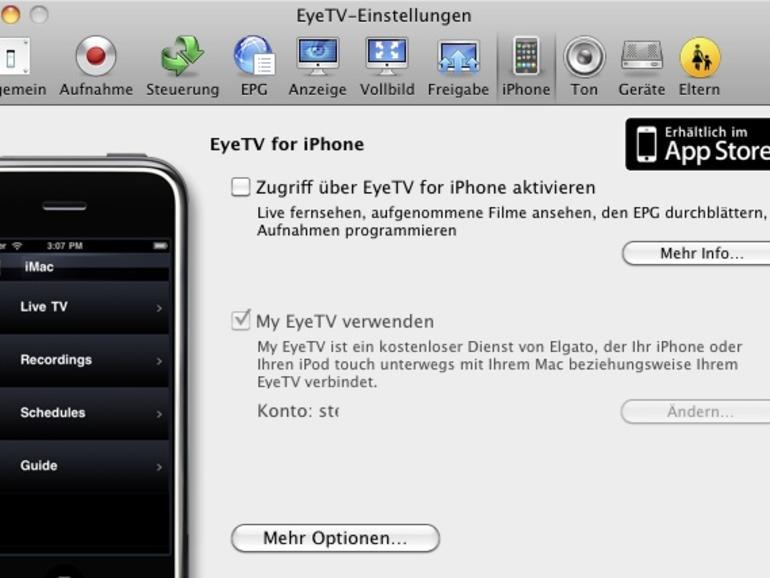 Zusätzlich müssen Sie im Reiter <b>iPhone</b> den Zugriff auf die EyeTV-Software über die iPhone-App deaktivieren