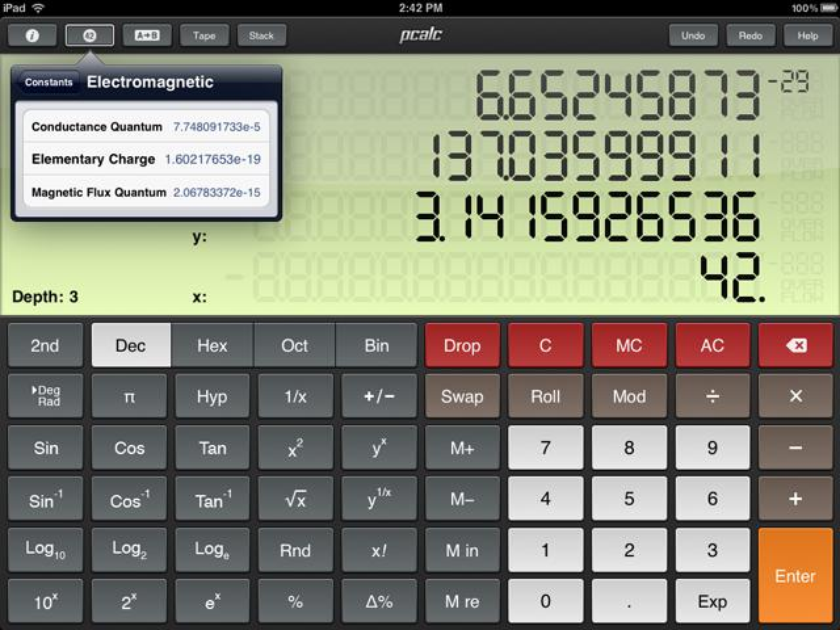 PCalc auf dem iPad.