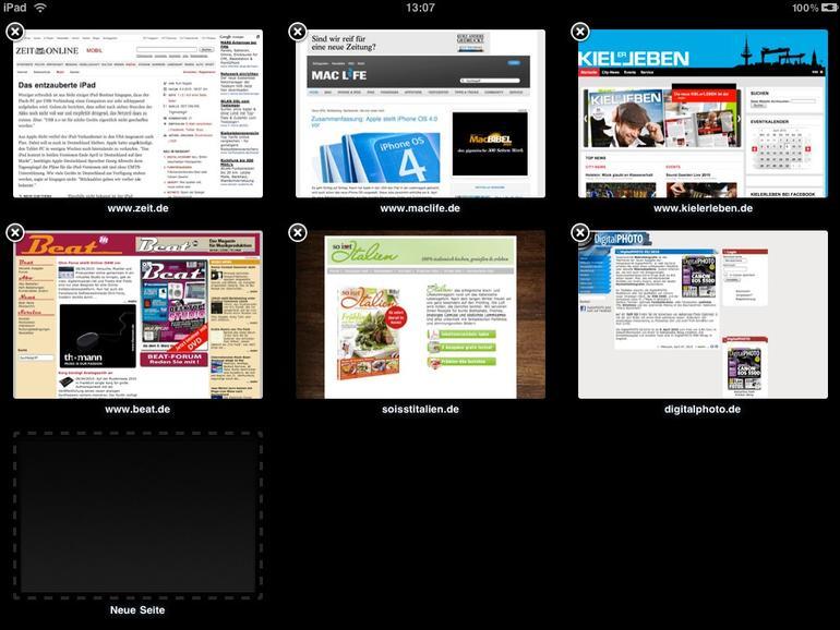<b>Mehrere geöffnete Webseiten zeigt Safari mit einer übersichtlichen Vorschauansicht</b>