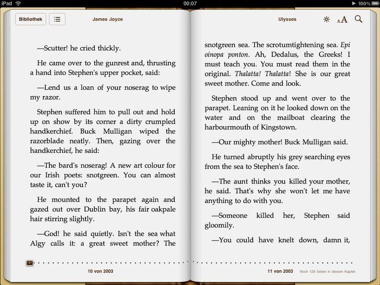 <b>Im Querformat werden beide Seiten eines Buches dargestellt, am unteren Seitenrand wird angezeigt, an welcher Stelle im Buch man sich gerade befindet</b>