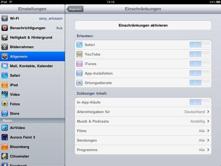 <b>Der Zugriff auf diverse Apps lässt sich einschränken</b>