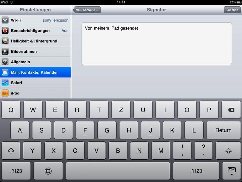 """<b>""""Von meinem iPad gesendet"""" muss nicht sein, denn die Signatur lässt sich anpassen</b>"""