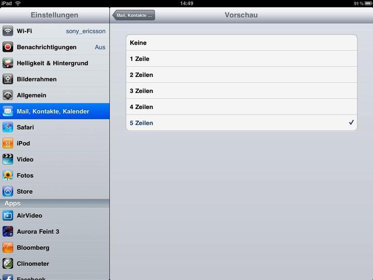 <b>Von Haus aus zeigt die Mail-App nur zwei Zeilen Vorschautext auf den Textkörper einer E-Mail</b>