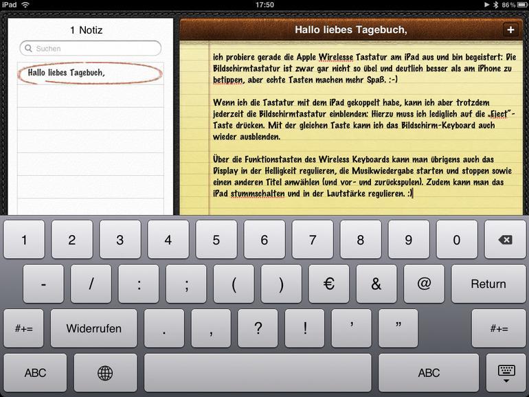 """<b>Über die """"Eject""""-Taste an der Apple Wireless Tastatur lässt sich das Bildschirm-Keyboard ein- und ausblenden</b>"""