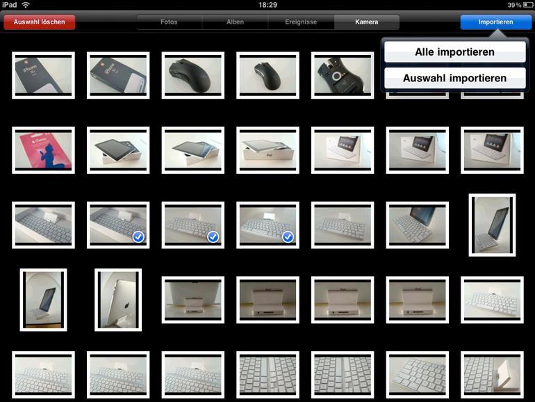 """<b>Der Import erfolgt über die Fotos-App, die hierzu um den Reiter """"Kamera"""" erweitert wird</b>"""