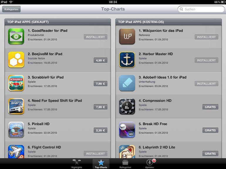 """Im deutschen App Store findet sich noch wenig Neues, dafür umso mehr alte """"Bekannte"""""""