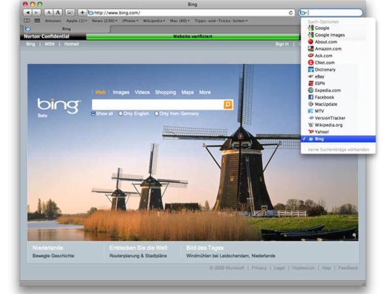 Safari neue Suchmaschinen hinzufügen
