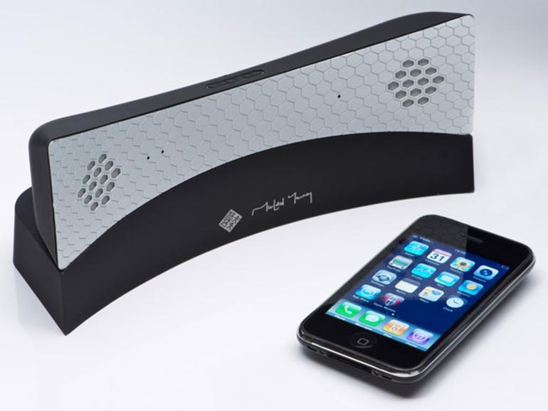 <b>MM04:</b> Noch ohne iPhone-Dock: Der MM04 (179 Euro) ist Telefonhörer und Stereo-Lautsprecher in einem