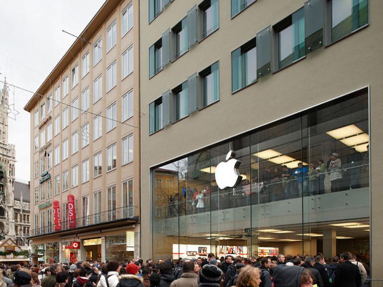 Der Apple Store in München soll bereits bei städtischen Kontrollen aufgrund schlechter Arbeitsbedingungen aufgefallen sein.