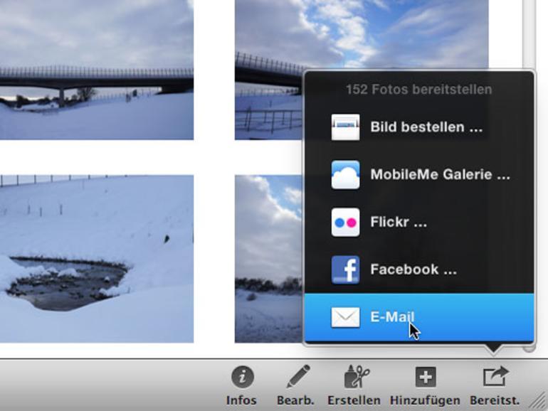 So versenden Sie Fotos aus iPhoto via E-Mail