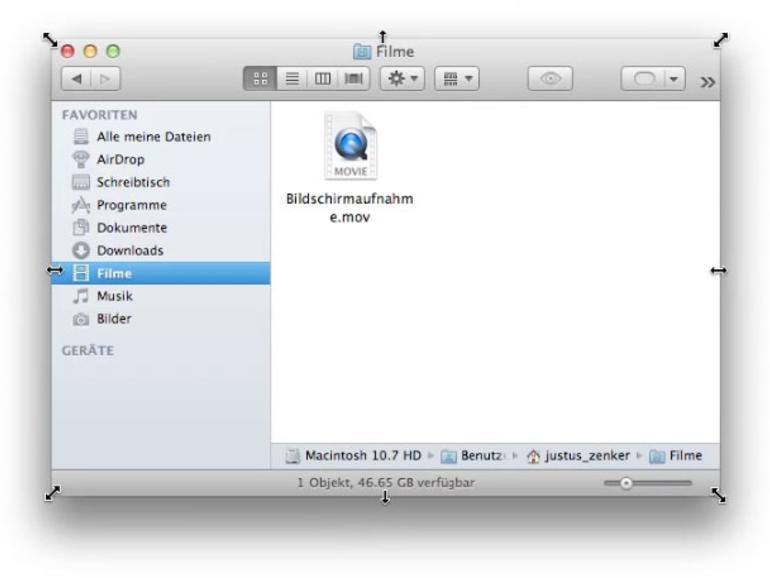 OS X lernt von Windows: Programmfenster lassen sich unter Lion an allen Ecken und Kanten vergrößern