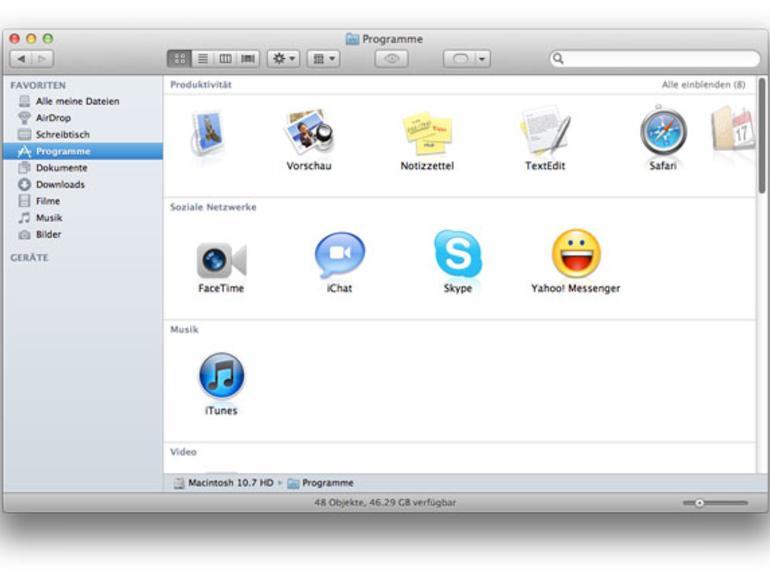 OS X Lion: Der überarbeitete Finder in Wort und Bild