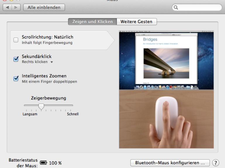 """Wer eine Magic Mouse nutzt, entfernt zum Umkehren der Scrollrichtung einfach den Haken vor dem Eintrag """"Scrollrichtung: Natürlich""""."""