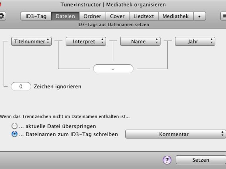 Mit dem Programm Tune•Instructor lassen sich die ID3-Tags leicht aus den Titel-Informationen füttern