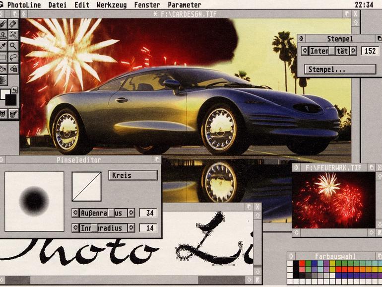 Screenshot aus grauer Vorzeit: PhotoLine 32 unter TOS/MagiC