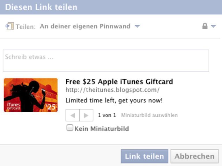 Facebook-Falle: Das Märchen von der kostenlosen iTunes-Karte