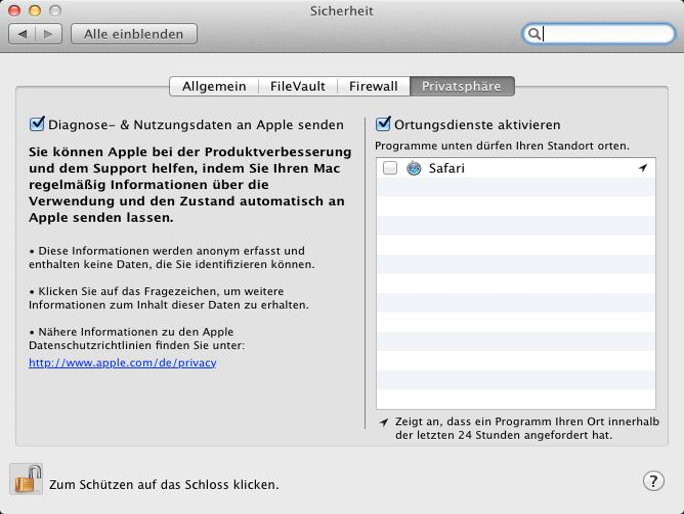 OS X Lion: Ortungsdienste & Diagnosedaten deaktivieren