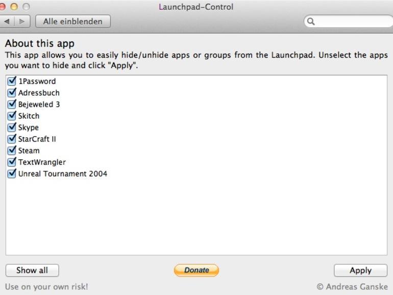 OS X Lion: Einträge im Launchpad löschen & Apps neusortieren