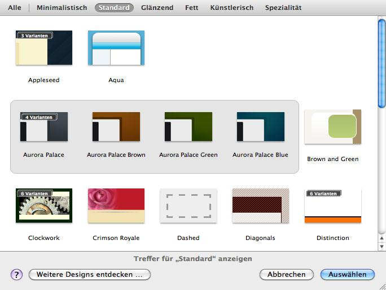 Die unterschiedlichen Designvarianten werden ähnlich wie in Apple Aperture gestapelt angezeigt