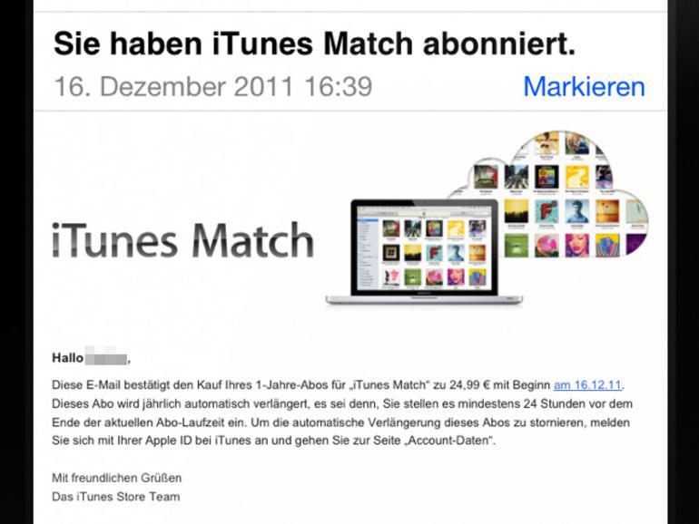 <strong>Auch in der Bestätigungsmail weist Apple auf die automatische Verlängerung des iTunes-Match-Abos hin</strong>