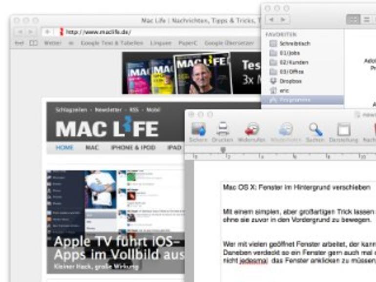 Mac OS X: Fenster im Hintergrund verschieben