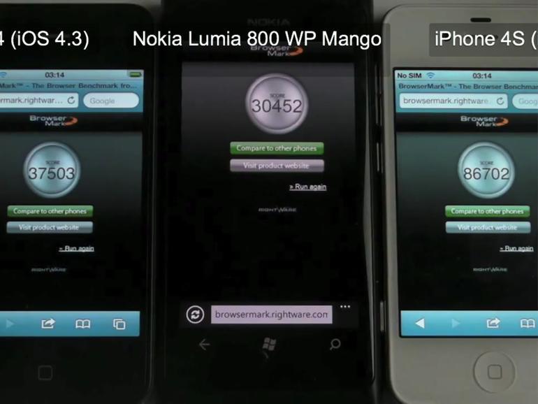 iPhone 4, iPhone 4S & Lumia 800 im Benchmarkvergleich
