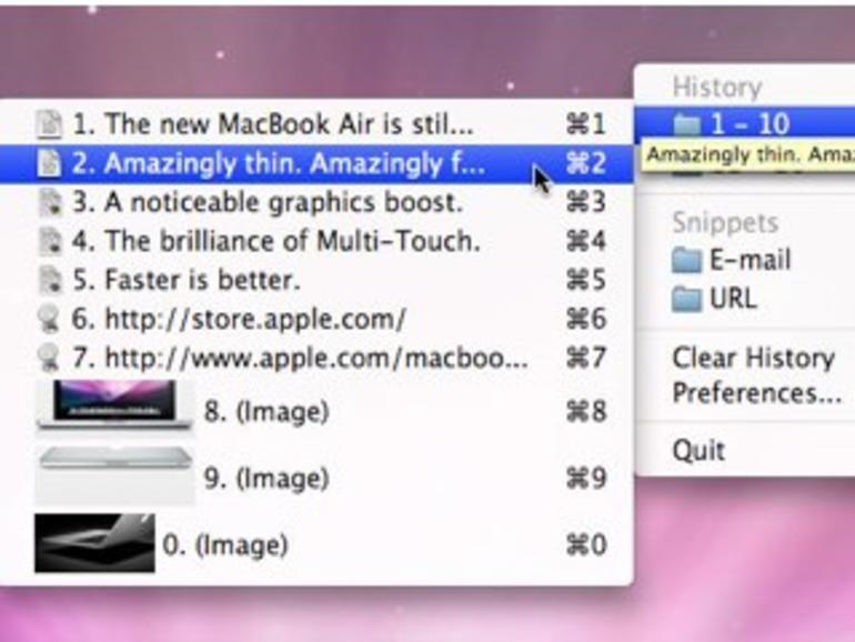 ClipMenu erweitert Mac-OS-X-Zwischenablage um Verlauf