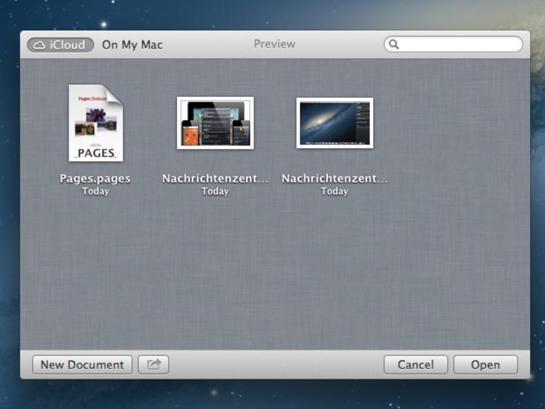 <b>iCloud Integration: </b>Dokumente können in Mountain Lion bequem online zwischengespeichert und auf dem iPhone, iPad und iPod touch weiterverarbeitet werden