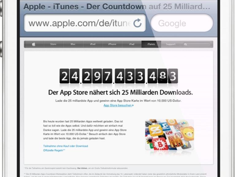 25 Milliarden Apps: Apple startet Download-Countdown und lobt 10.000 US-Dollar iTunes-Guthaben aus