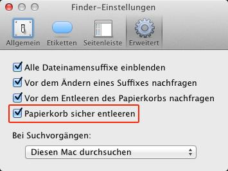 OS X Lion: Papierkorb sicher leeren